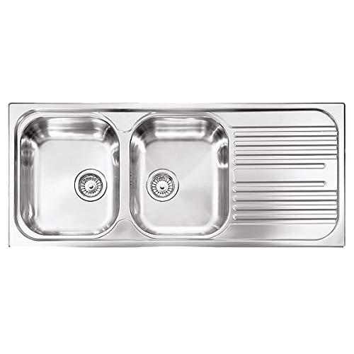 Fregadero de cocina Plados de acero inoxidable Universal TL1162 de acero satinado con dos cubetas y escurreplatos