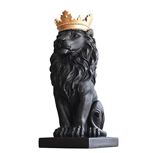 BD.Y Exquisita Estatua de Escultura Moderna Resina Abstracta Rey Len con Corona de Oro Estatua Adornos Decoracin del hogar Accesorios Regalo Resina Escultura de len