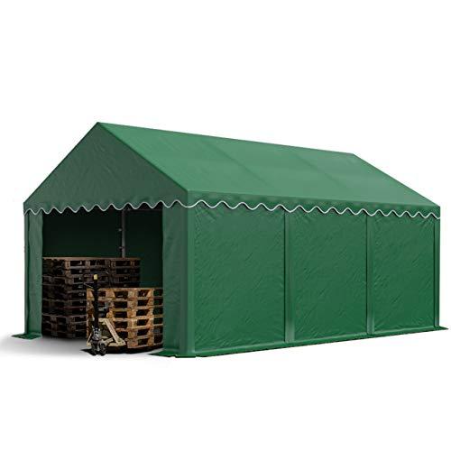 TOOLPORT Lagerzelt Unterstand 4 x 6 m in dunkelgrün Weidezelt ca. 500g/m² PVC Plane nach DIN wasserdicht
