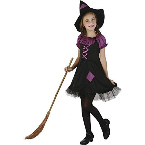 DEGUISE TOI - Déguisement sorcière Violette avec Chapeau Fille - M 7-9 Ans (120-130 cm)
