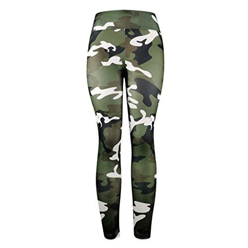MORCHAN Camouflage séance d'entraînement Leggings Fitness Sport Courir Yoga Pantalons athlétique de Femme(Vert)
