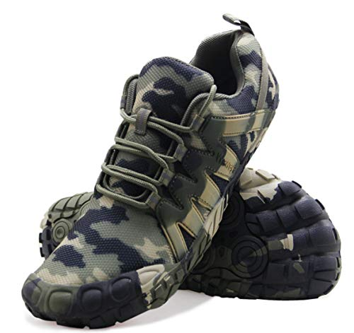Barefoot Shoes Men Workout Gym Cross Training Five Fingers Minimalist Running Zero Drop Indoor Zumba Strength Weight Spin Wide Width Toe Box Camouflage Size 11 Camo Green