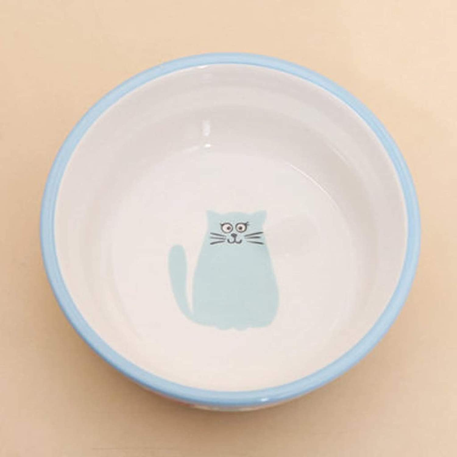 HVTKL Creative Kitten Ceramic Bowl Cat Food Dog Food Bowl bluee Pet Supplies