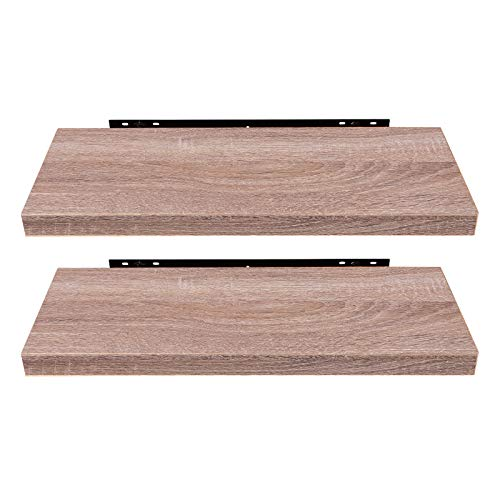 EUGAD 0116QJ-2 Wandregal Wandboard 2er Set Hängeregal Holz Board Modern Eiche Gelb 60x22,9x3,8cm