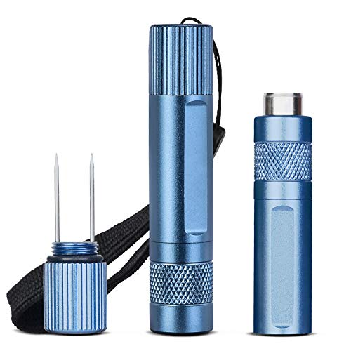 CIGARLOONG Cigar Punch Blue Double Retractable Cigar Hole Cutter and Holder