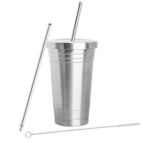 Inspired Home Living - Bicchiere in acciaio inox (473ml) con 2cannucce, spazzola per pulizia e a doppio strato isolante–Bicchiere da viaggio ideale per bevande calde e fredde