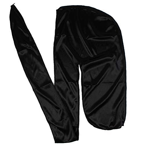 Men Silk Durag Long Straps Bandanas for Men Headwear Waves Cap (Black)