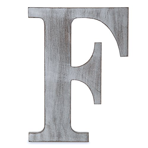 "The Lucky Clover Trading F Wood Block, 14"" L, Charcoal Grey Wall Letter, Gray"