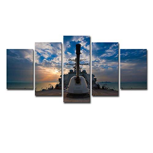 5 Panel Impresiones Sobre Lienzo Imprimir Pintura Arte De La Pared Imagen Modular Canvas Poster Decoración Del Hogar Imagen Torreta De Acorazado 100X55Cm