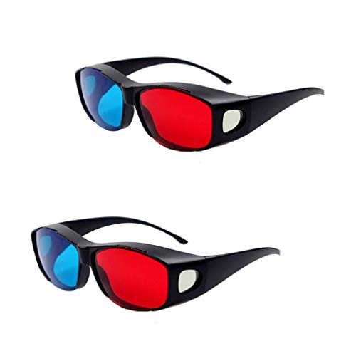2 + 1パックHD 3Dメガネ、効果は優れた赤青3Dアイウェア、ウォッシャブルゴーグル、赤と青のモード、3Dのごちそうを楽しむことができる、子供と大人向け、0.72mm
