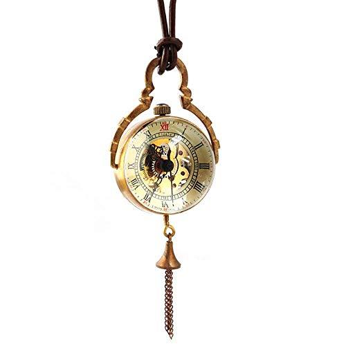 DSHUJC Reloj de Bolsillo Reloj de Bolsillo mecánico Transparente de Cristal Vintage Reloj de Pared Redondo Reloj de Bolsillo para Hombre Regalo de cumpleaños