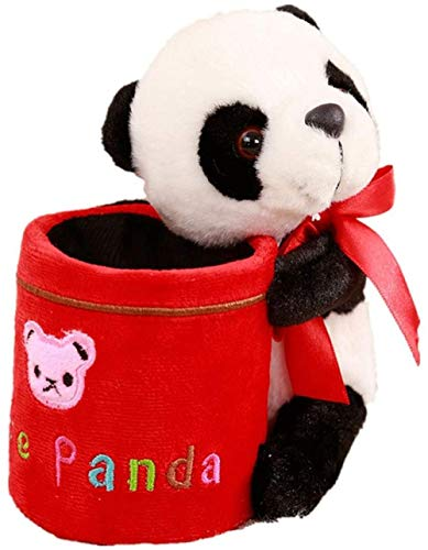 AGOOLZX Plush Stationery Girl Kid Girl Cute Thing Office Pen Holder Cartoon Panda Pen Holder Home Pen Holder Decoration Student Plush Pen Holder-Red