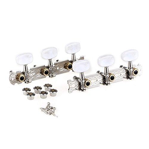 Musiclily Pro 3x3 Clavijas de Afinación Clavijero de Repuesto para Guitarra Acústica, Níquel Con Botón Blanco