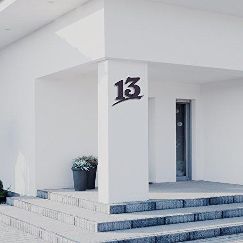 Hausnummer 13 ( 30cm Ziffernhöhe ) in Anthrazit-grau, schwarz oder weiß, 6mm stark aus Acrylglas - Original ALEZZIO Design - Rostfrei, UV-beständig und abwaschbar, Anthrazit wie Pulverbeschichtet RAL 7016, mit Montageschablone