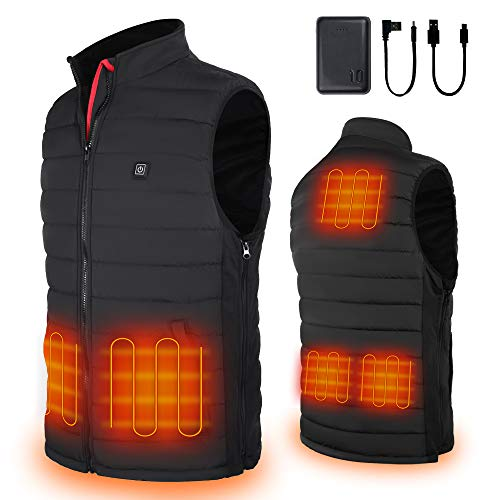 Hoson Heated Vest,Electric Lightweight Heated Vest for Men Women,Independent TemperatureIce Skating for Heated Jacket Sweater Thermal Underwear Battery (X-Large, Black)