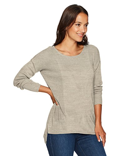 Napa Valley Women's Petite High Low Novelty Rib Pullover, Oatmeal, PXL