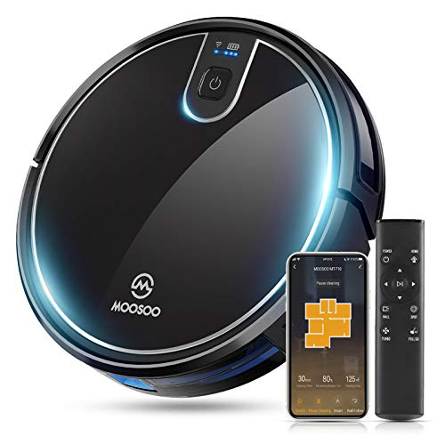 MOOSOO Robot Vacuum, Wi-Fi Connectivity, Easily Connects with Alexa or Google Assistant and Voice Control, Super Thin Robotic Vacuum Cleaner, 120Min Max Run Time, Automatic Self-Charging Vacuum MT-710