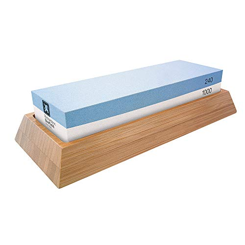 Richardson Sheffield RAX15 Japanse watersteen, nat-slijpsteen, korrel 240 (grof) / 1000 (fijn), slijpsteen, messenslijper, korund, bamboehout, blauw/wit