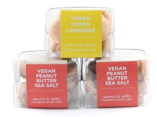 Thumbs Cookies Variety Pack of Fresh Baked Vegan Cookies in 3 Boxes - 2 Boxes Vegan Peanut Butter Sea Salt, 1 Box Vegan Lemon Lavendar - 1 lb. Cookie Gift Box