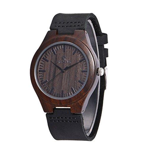 Yowao Bambú - Reloj de madera con correa de cuero, movimiento de cuarzo japonés, estilo informal, marrón y gris