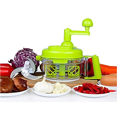 OLIYA Manual Vegetable Cutter Food Processor 8 in 1 - Chopper, Mixer, Blender, Whipper, Egg Separator, Mincer, Grinder, Dicer with Clear Container 1200ml BPA Free