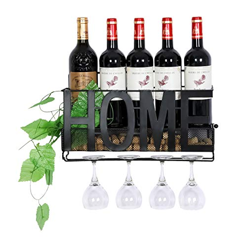 PAG Wall Mounted Metal Wine Rack with Wine Glass Holder & Wine Cork Storage Cage, Black