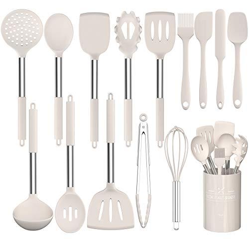 Umite Chef - Set di utensili da cucina, resistenti al calore, antiaderenti, in silicone, senza BPA, manico in acciaio inox, spatola, cucchiaio, frusta, 15 pezzi