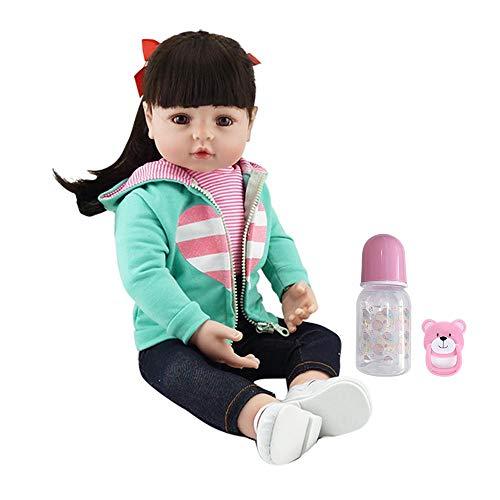 iCradle Bambole Neonate del Bambino di 18 Pollici e di 22 Pollici rinate Fatte a Mano Bambola neonata Molle Adorabile della neonata del Vinile dei Capelli Neri Lunghi Adorabili (18Inch)
