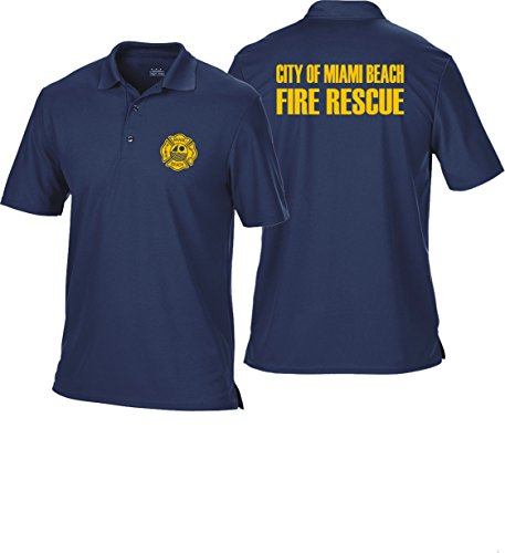 Polo bleu marine multifonctions, Miami Beach Fire Rescue 3XL Bleu marine - bleu marine