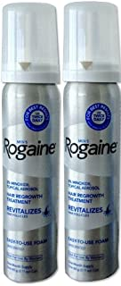 Rogaine for Men Hair Regrowth Treatment, 5% Minoxidil Topical Aerosol, Easy-to-use Foam, 2.11 Ounce Each Can, No Box, Packaging May Vary. Authentic and Sealed. (2 cans - 2 month supply)