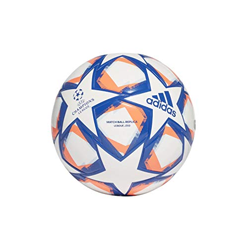adidas Unisex Kinder UCL Finale 20 Junior League Fußball, White/Royal Blue/Signal Coral/Sky Tint, 5