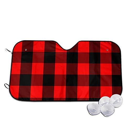 Sombrillas clásicas de color rojo y negro a cuadros-tartán para ventana delantera de coche, accesorios para interiores de vehículos de moda, protección contra rayos UV, sombra de aislamiento