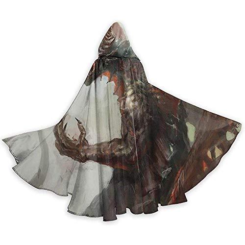 Rexing Erwachsener Umhang-Mantel Mittelalterlicher mythologischer legendärer Drache-Unisexmit Kapuze Mantel-Mantel-Hexe-Robe-Umhang-Langer Halloween-Cosplay-Partei-Mantel