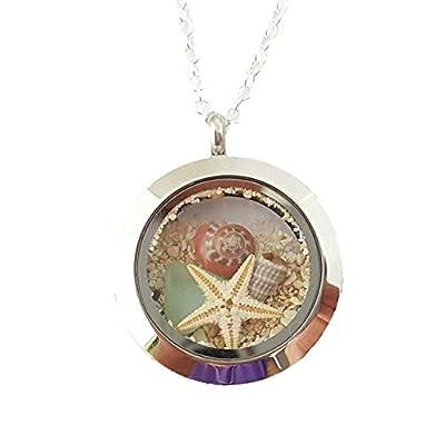 Hawaii Memory Médaillon en une boîte-cadeau, 25 mm, verre naturel de la mer, plage de sable, une étoile de mer, d'une tarière Shell et une coque de bouton, Médaillon en acier inoxydable