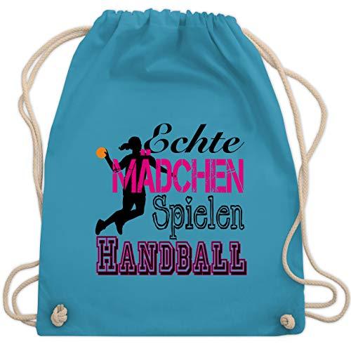 Shirtracer Handball - Echte Mädchen Spielen Handball - Unisize - Hellblau - turnbeutel mädchen handball - WM110 - Turnbeutel und Stoffbeutel aus Baumwolle