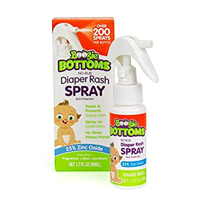 Diaper Rash Cream Spray by Boogie Bottoms, Travel Friendly No-Rub Touch Free Application for Sensitive Skin, from The Maker of Boogie Wipes, Over 200 Sprays per Bottle, 1.7 oz from Nehemiah Manufacturing