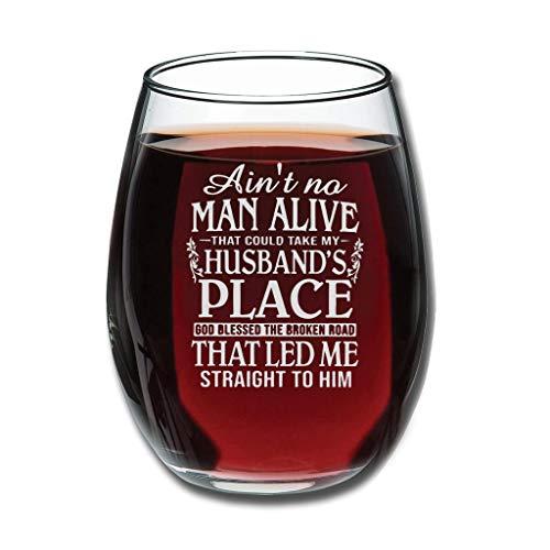 Lind88 (12-Ounce - Er is geen man die kan nemen mijn man plaats God gezegend de gebroken weg die leidde me recht naar hem permanente graveren rode wijn glas breken-bestendig speciaal