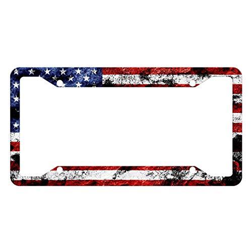 EXMENI Custom Patriotic USA License Plate Frame Quality Aluminum License Plate Cover American Flag Design License Plate Veteran Patriot Novelty License Plate Frame