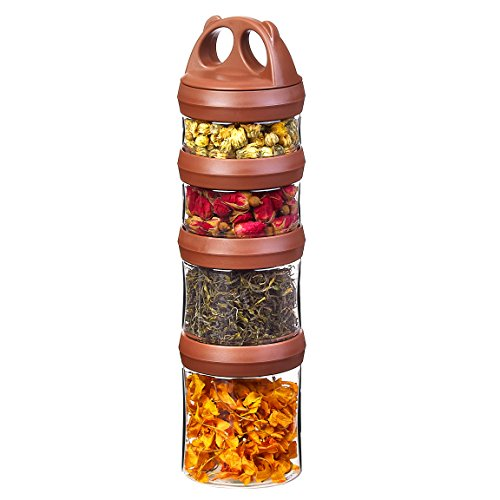 Tritan Frischhaltedosen Snack Aufbewahrungsbox, Twist lock 4-teilig Stapelbar, 100% BPA-Frei, Luftdicht, Auslaufsicher, Geeignet für Mikrowelle, Gefrierschrank und Spülmaschine (0,91 Liter, Braun)