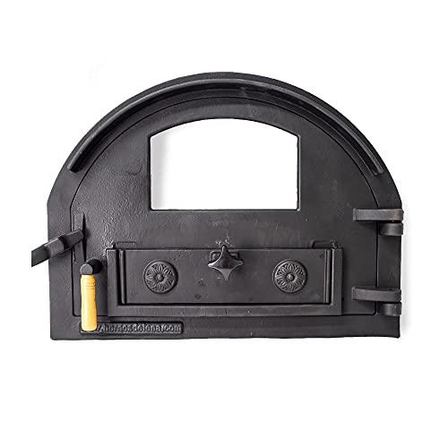 Puerta de fundición con Cristal para Horno de leña de tamaño Medio (Peso: 16 Kg)