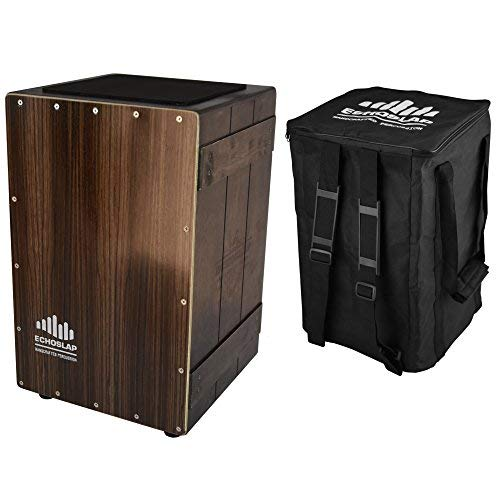 Echoslap Vintage Crate Cajon -Ebony, Hand Crafted, Siam Oak Body, Maple Front Adjustable Snare + Free Gig Bag
