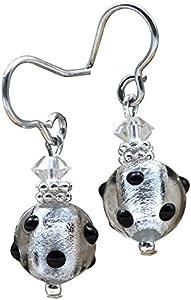 Jo-Jo Mini Negro y Plata lunares pendientes joyas (Veritable cristal de Murano de Venecia