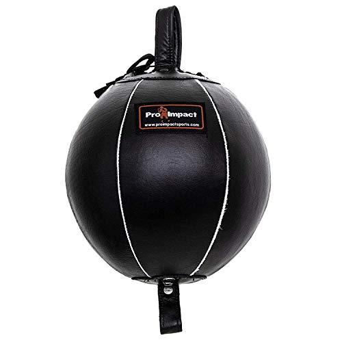 Pro Impact 本革ダブルエンドボクシングパンチングバッグ – スピードストライキング&ドッジトレーニングボール – コード&フック付き ジムワークアウト MMA ムエタイ(7インチ)