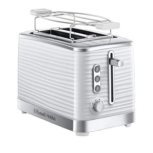 Russell Hobbs Toaster Inspire White, Hochglanz-Kunststoff, Lift and Look Funktion, bis zu 6 einstellbare Bräunungsstufen, extra breite Toastschlitze, Brötchenaufsatz, 24370-56, weiss