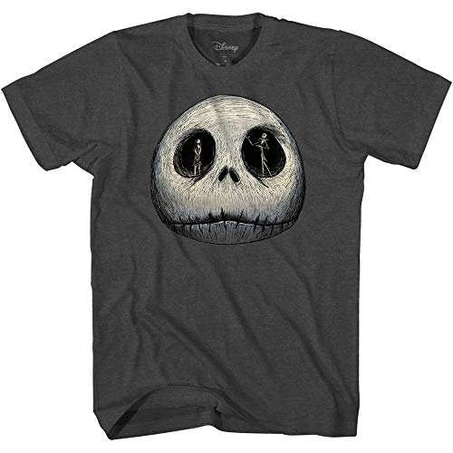 Disney Mens Jack Skellington Shirt - The Nightmare Before Christmas Tee - Skellington Graphic T-Shirt (Charcoal Heather, X-Large)