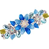 probeninmappx Femme Flor de Diamantes de imitación de Cristal Pinza de Pelo de Las Mujeres de la Horquilla de Femme Barrette Fibra Óptica Herramientas de bellezaazul