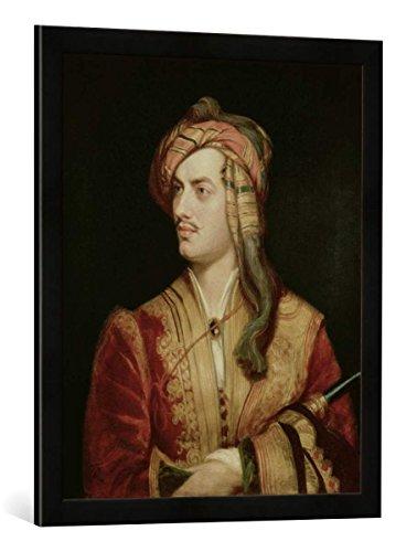 """Gerahmtes Bild von Thomas Phillips \""""Portrait of George Gordon (1788-1824) 6th Baron Byron of Rochdale in Albanian Dress, 1813\"""", Kunstdruck im hochwertigen handgefertigten Bilder-Rahmen, 50x70 cm, Schwarz matt"""