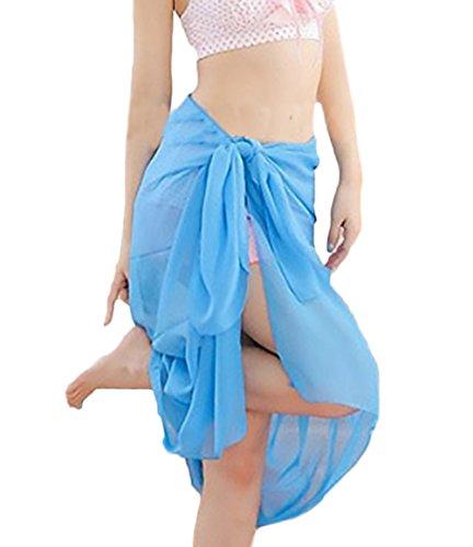 Huixin Pareo Damen Elegante Sommer Beach Chiffon Strandtuch Multifunktions Bikini Strandkleid Strandmode Beachtime Beachwear Uni-Farben (Color : Blau, Size : One Size)