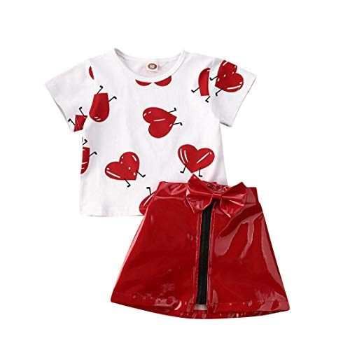 Frecoccialo 2tlg Baby Mädchen Kurzarm Shirt mit Aufdruck Kurze Tops + Rot Lederrock Outfit Baby Sommer Rock Top Set Fashion Babyset (Rot, 2-3 Jahre)