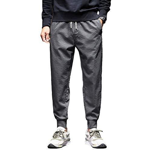 Pantalon de Jogging pour Hommes avec Rayures Pantalon de Jogging à Revers fuselé Pantalon de survêtement Pantalon de Sport décontracté pour Homme